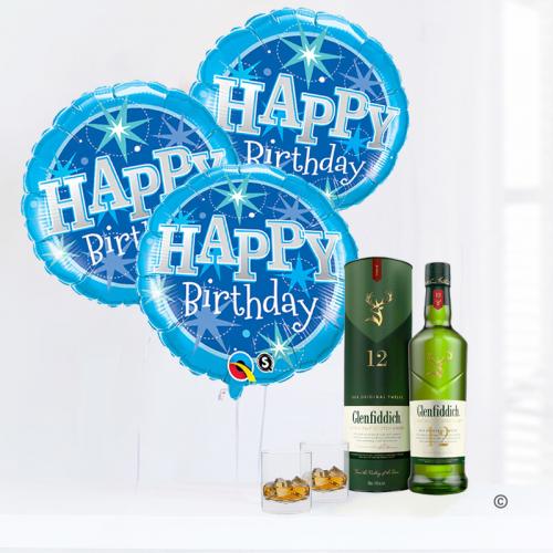 Happy Birthday Balloon gift set with glenfiddich scotch whiskey