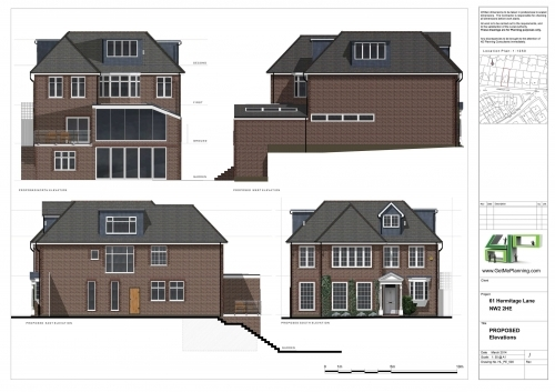 Architectural Drawings Elevations Basement Rear Side Extension Roof Extension Barnet Council Planning Permission Granted