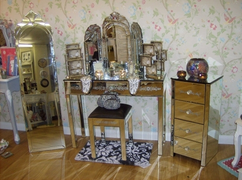 Montage of some Venetian mirrored furniture