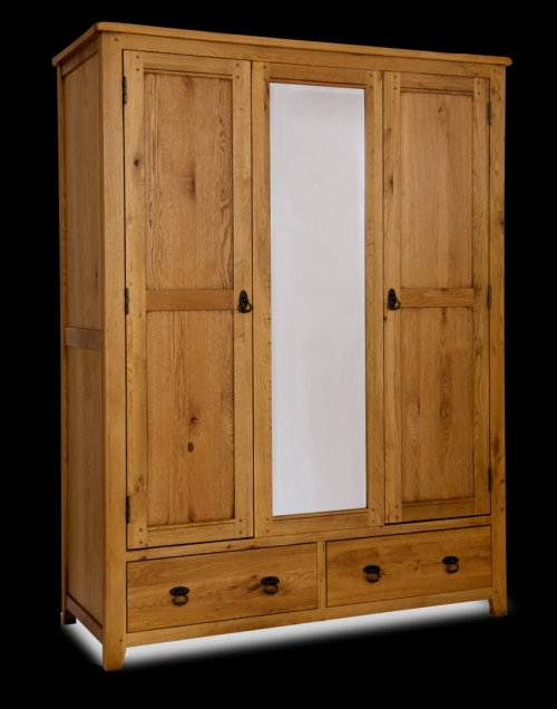 vienna rustic oak triple wardrobe with mirror and drawers