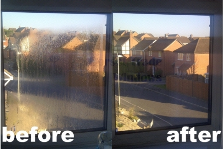 These misted up double glazed units in Poole were easily replaced with new units without the need of replacing the uPVC frame. Misted up units occur when moisture (water) has become trapped in the cavity between the two sheets of glass that create the dou