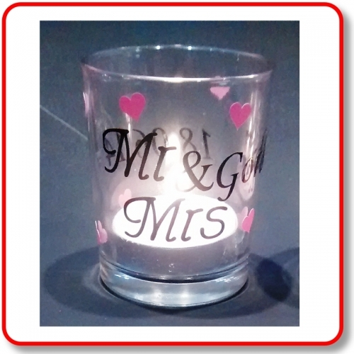 Votive candle holder personalised, with vinyl, for wedding table