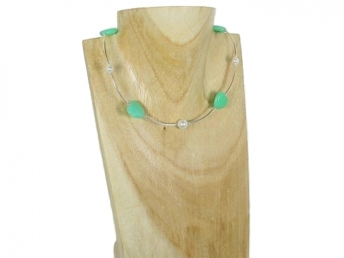 Emerald Green Aventurine Hearts Necklace