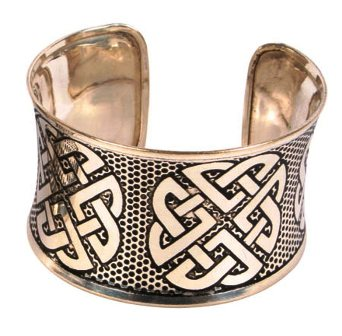 Brass Cuff in Silver with Engraved Celtic Knots