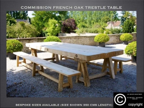 Bespoke French dining trestle table and benches many variations available. www.bespokefurnituremakers.company