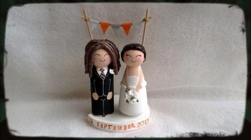Wooden Wedding Toppers with Dreadlock Groom