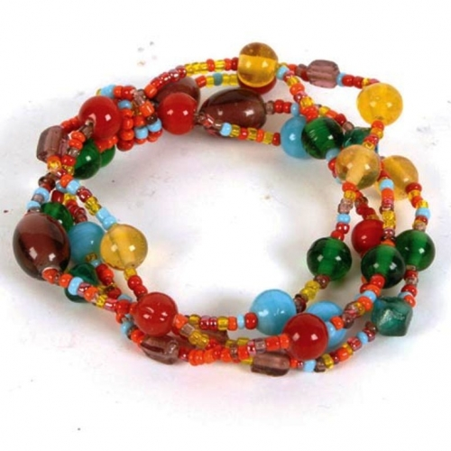 Multi-coloured Glass Beads Elasticated Bracelet, 4-Stand