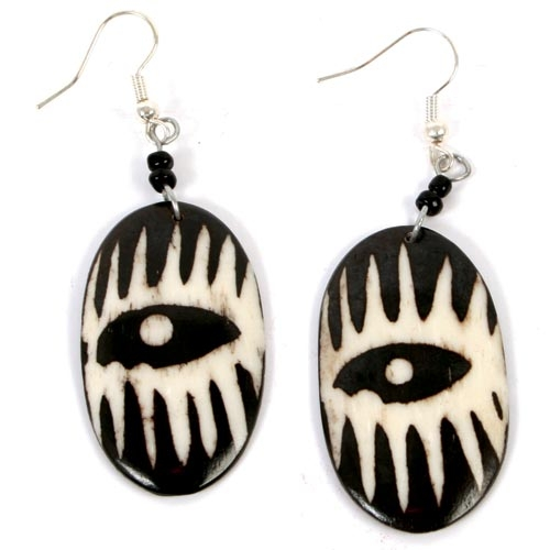 Bone Earrings With Mask Design