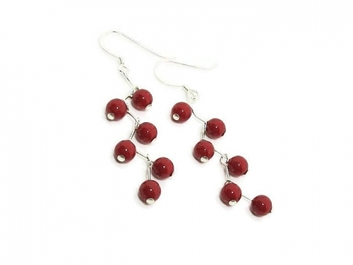 Red Sterling Silver Earrings With Swarovski Pearls