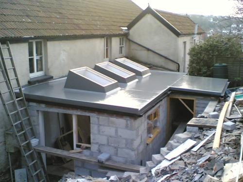 Grp flat roofing with velux skylights