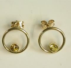 Handmade Yellow Sapphire stud earrings in 9ct gold