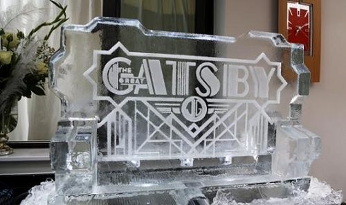 Great Gatsby Logo Ice Sculpture Vodka Luge