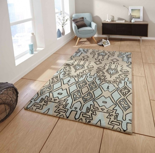 Spectrum SP83 Beige Blue Handmade Wool Rug By Think Rugs
