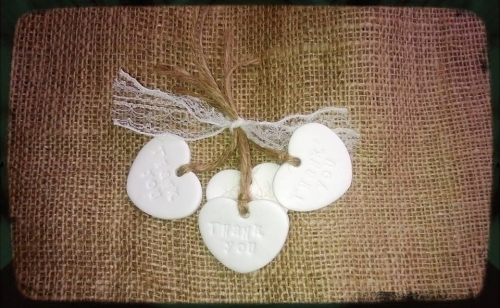 Handmade Wedding Favour Clay Heart Thank You Gift Tags