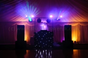 Large sized Disco set up in marquee.