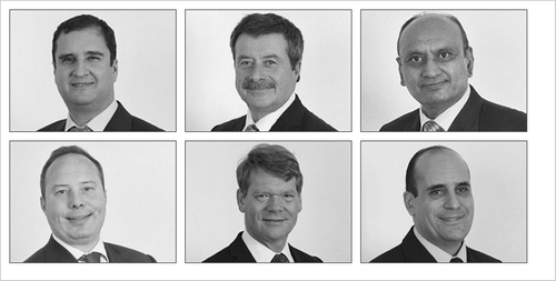 The Anderson Wilde & Harris Board of Directors from left to right. Top Row: George Palos - MD, Clive Morley, Hari Hirani. Bottom Row: Jason Kerr, Christopher Shawcross, Michael Palos.